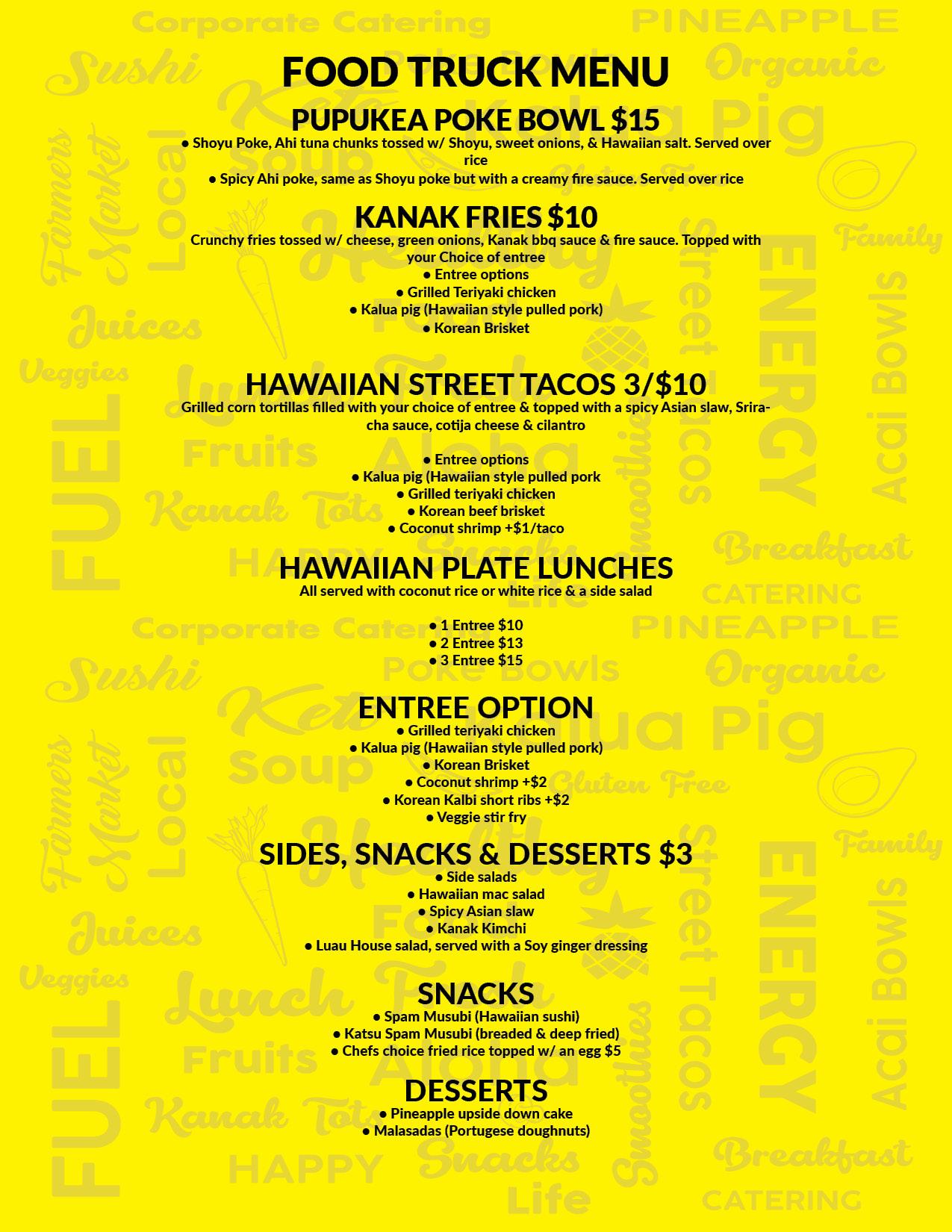 Kanak attack menu